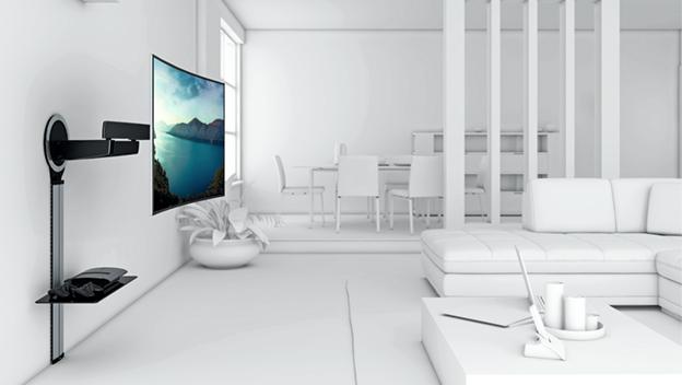El mejor soporte para fijar tu televisor curvo a la pared for Mesa para tv 55 pulgadas