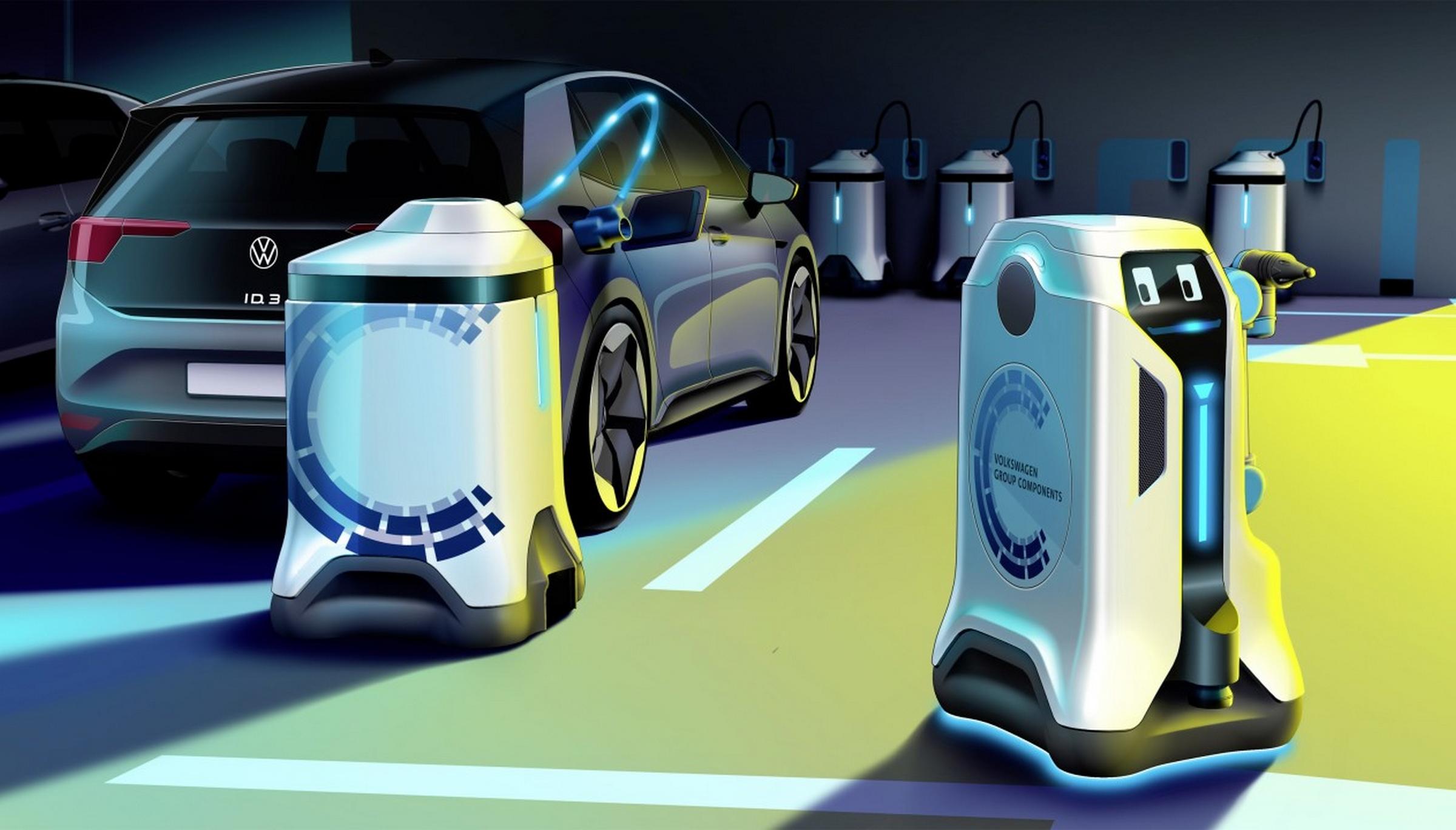 El simpático robot autónomo de Volkswagen que recarga automáticamente los  coches aparcados   Motor - ComputerHoy.com