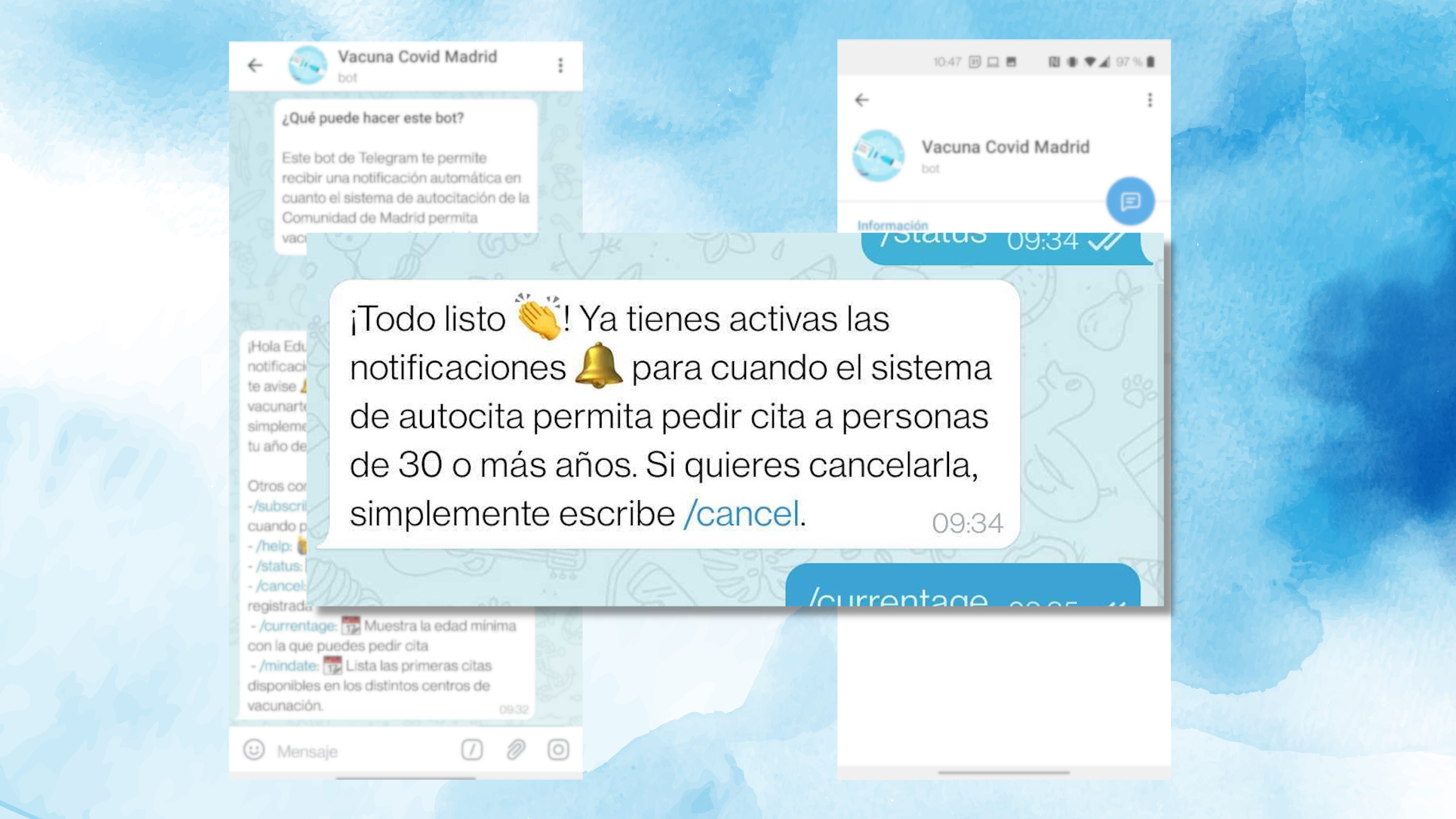 El bot de Telegram que te avisa cuando puedes pedir cita para vacunarte en Madrid