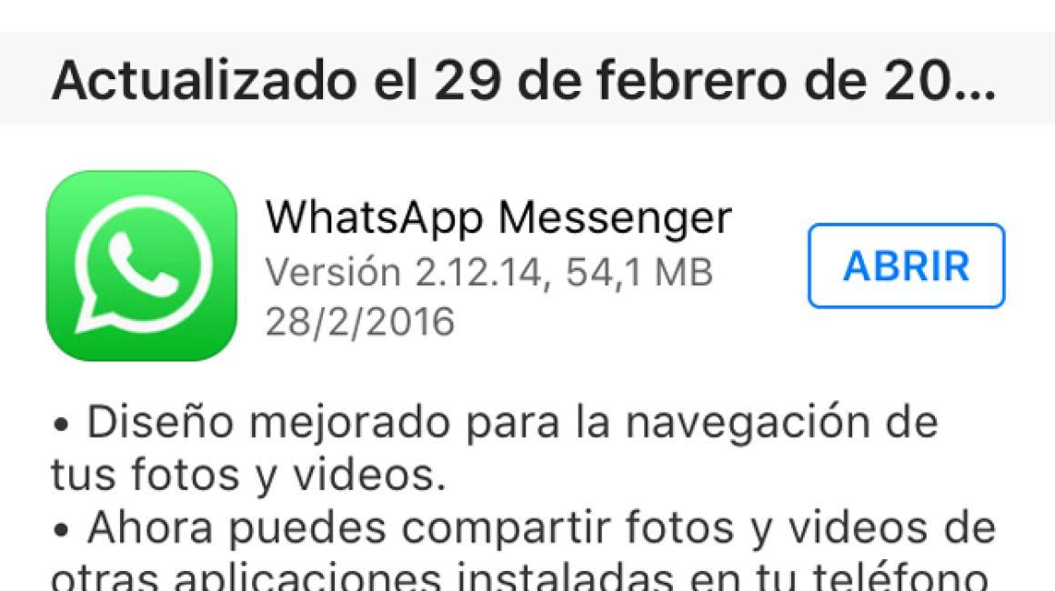 Actualización de WhatsApp a la versión de 2.12.14