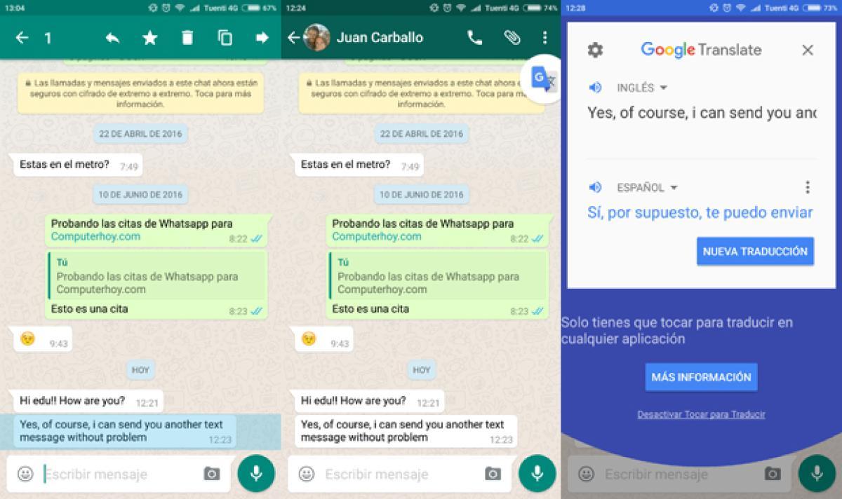 Traducción de textos con Google