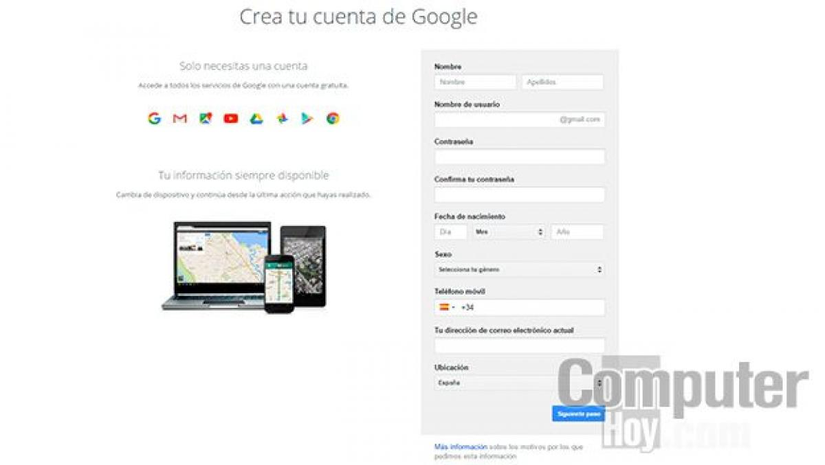 Cuenta gmail crear Gmail Correo