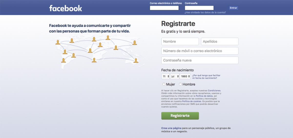 Facebook iniciar sesion o registrarse