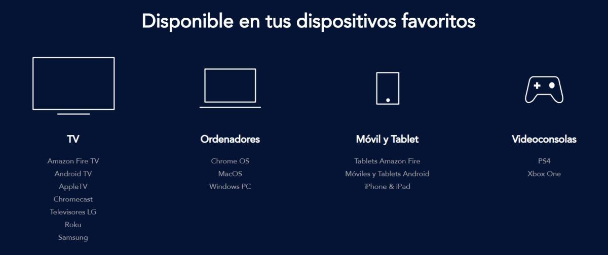 Dispositivos compatibles para Disney Plus
