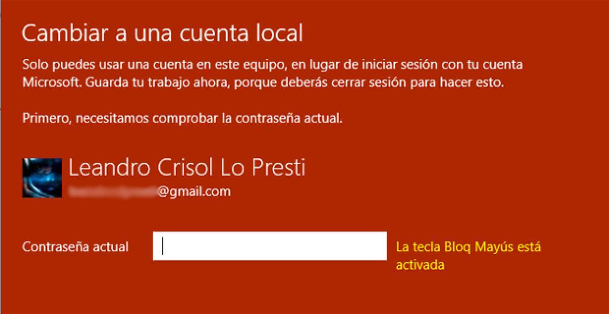 Cambiar a cuenta local en Windows 10