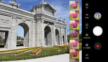 Este Modo Profesional permite añadir diferentes filtros a la imagen, y también tiene ajustes manuales de cada opción de la cámara