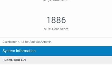 Resultado de la Huawei Mediapad T3 8.0 en Geekbench.