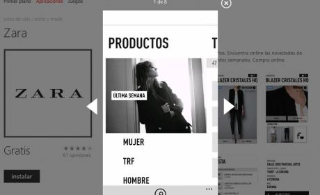 Interfaz app Zara en Apple Store