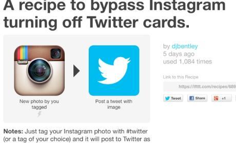 Receta IFTTT para Twitter e Instagram