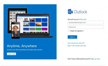 Interfaz Outlook.com