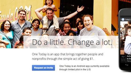 One Today, una aplicación de Google para microdonaciones.