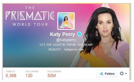 Katy Perry 50 millones seguidores Twitter