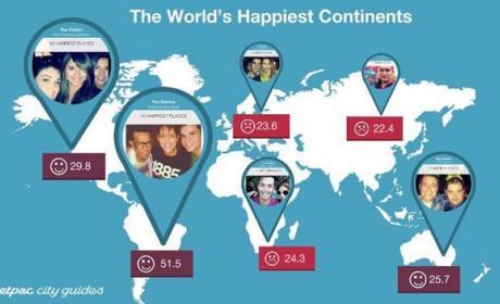 Los países más felices y más tristes del mundo según Instagram