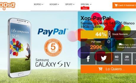 Samsung Galaxy S4 a 299 €, en Xopso PayPal, sólo 48 horas