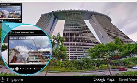 El ícono de reloj en el extremo superior izquierdo de Street View incluye imágenes viejas del lugar