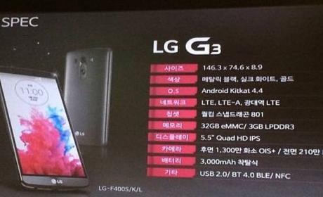 filtradas las características oficiales del LG G3