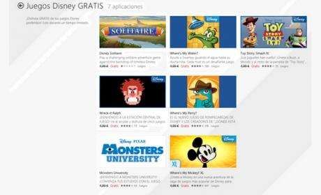 Siete juegos de Disney en formato app de Windows 8, gratis en la Tienda Windows por tiempo limitado.