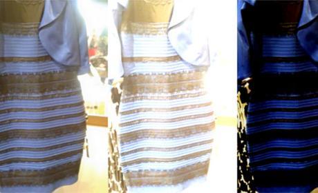 explicación vestido azul negro blanco dorado