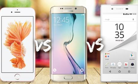 Comparativa: iPhone 6S, Samsung Galaxy S6 Edge y Sony Xperia Z5