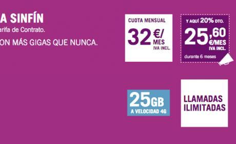 La tarifa Yoigo SinFín de 25 GB