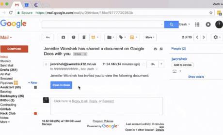 El ataque de phishing que se ha estado distribuyendo por Google Docs en Gmail