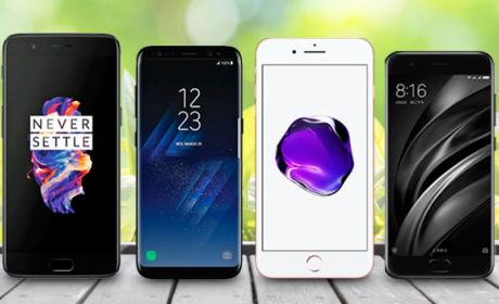 Comparativa: OnePlus 5 vs Samsung Galaxy S8+ vs iPhone 7 Plus vs Xiaomi Mi 6