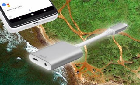 El adaptador para los auriculares que Google vende con los Pixel 2