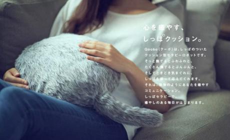 Una almohada robot con forma de gato, el último invento raro de Japón.