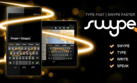 El teclado virtual por gestos Swype, sin soporte para Android e iOS.