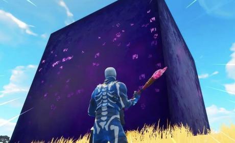 Cubo morado de Fortnite