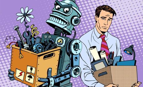 Robot contra humano en el trabajo