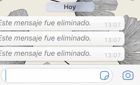 Mensaje eliminado en WhatsApp