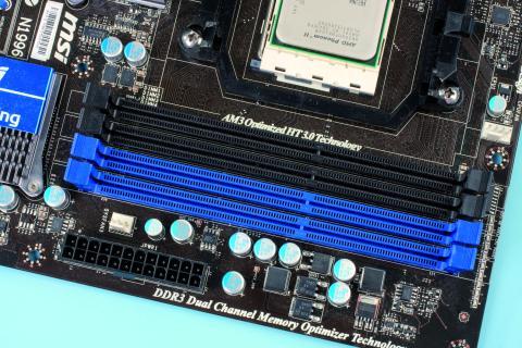 Foto de las ranuras de la memoria RAM