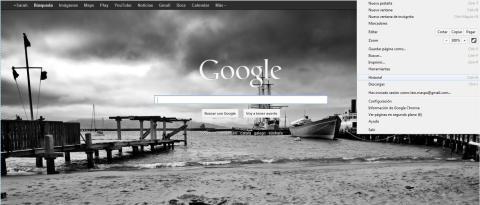 Interfaz Google Chrome Opción Historial
