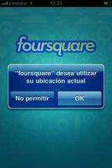 Interfaz de inicio de Foursquare