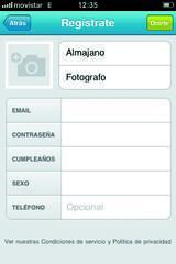 Pantalla de registro desde Foursquare
