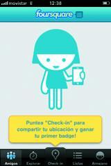 Pantalla de inicio Foursquare
