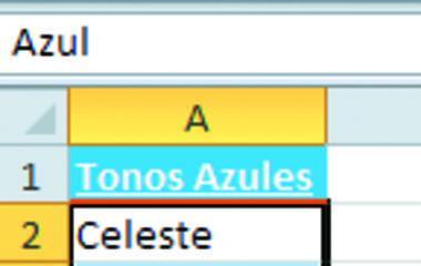 pantalla con la lista de tonos azules