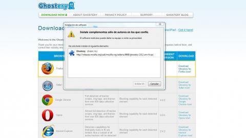 Interfaz Descarga Ghostery