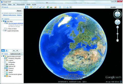 Pantalla de inicio de Google Earth