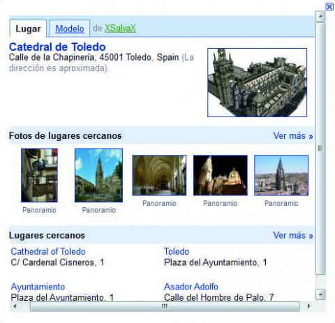 Ficha de información detallada en Google Earth