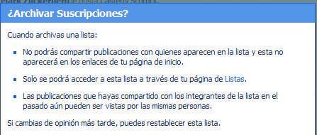 Mensaje de Facebook para archivar listas y garantizar la privacidad