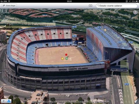 Aspecto del Vicente Calderón en Apple Mapas