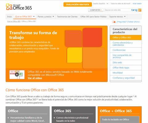 Página web de Microsoft Office 365