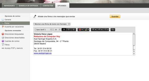 imagen de firma electrónica de Yahoo Mail
