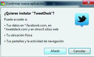ventana de instalación de TweetDeck