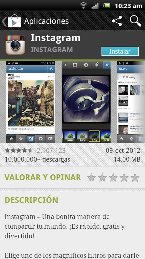 iimagen de instalación de instagram en google play