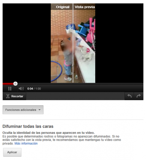 Difuminar caras en Youtube