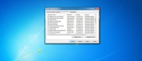 Ventana para configurar programas de inicio