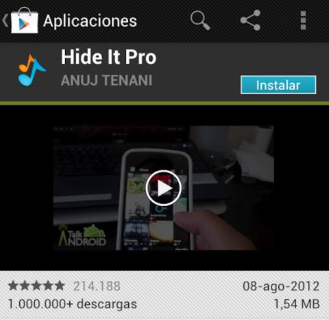 Descarga Hide It Pro de Google Play